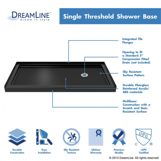 SlimLine 34 in. D x 60 in. W x 2 3/4 in. H Right Drain Single Threshold Shower Base in Black