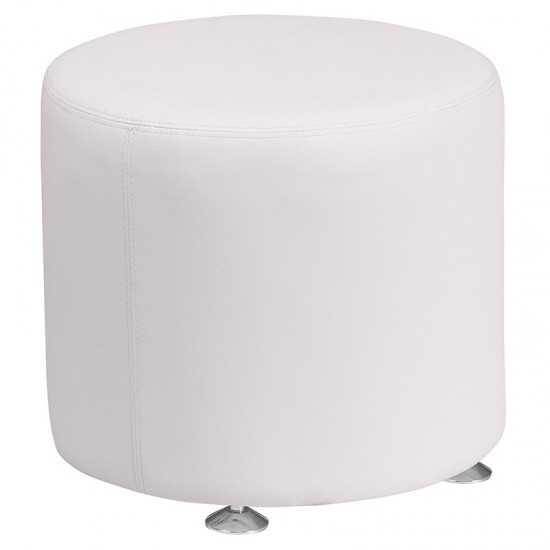 Melrose White LeatherSoft 18'' Round Ottoman