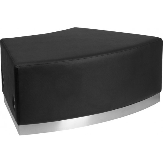Black LeatherSoft Backless Convex Chair with Brushed Stainless Steel Base