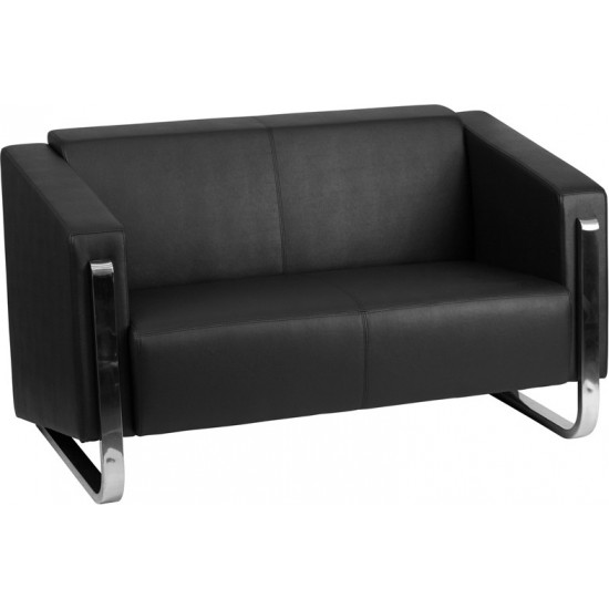 Contemporary Black LeatherSoft Loveseat with Stainless Steel Frame