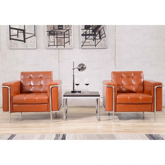 Contemporary Cognac LeatherSoft Chair with Encasing Frame