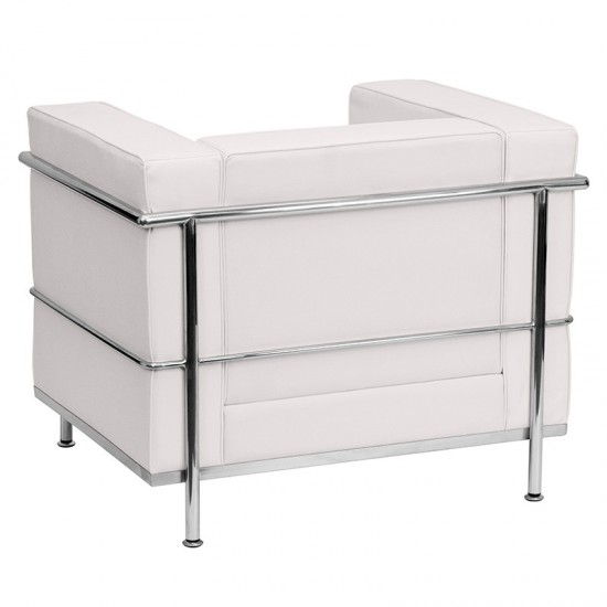 Contemporary Melrose White LeatherSoft Chair with Encasing Frame