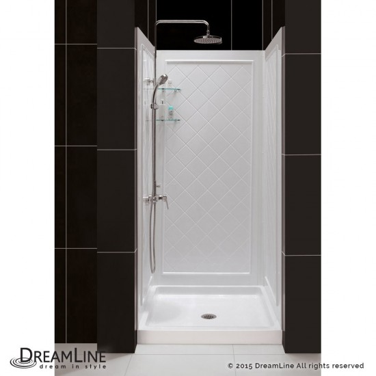 32 in. D x 32 in. W x 76 3/4 in. H Center Drain Acrylic Shower Base and QWALL-5 Backwall Kit In White