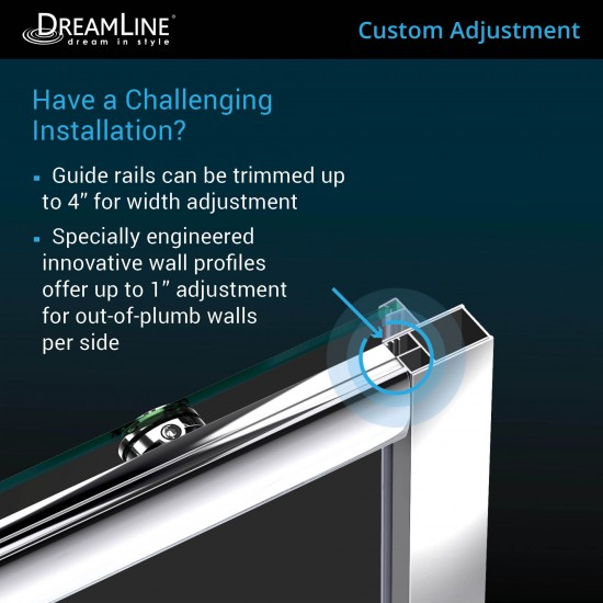 Infinity-Z 56-60 in. W x 72 in. H Semi-Frameless Sliding Shower Door, Clear Glass in Chrome