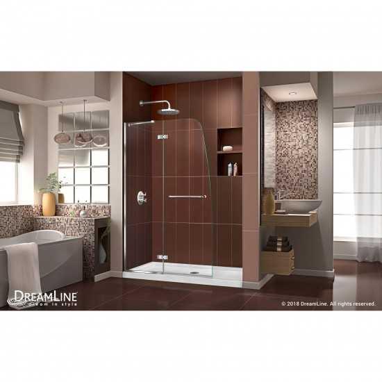 Aqua Ultra 45 in. W x 72 in. H Frameless Hinged Shower Door in Chrome
