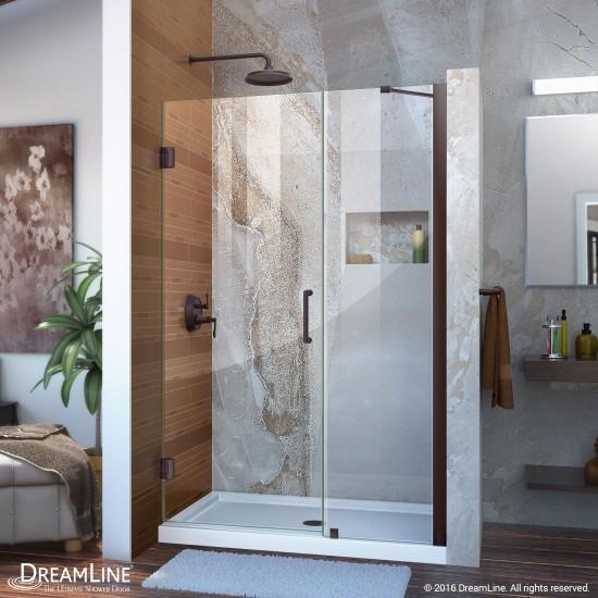 Unidoor 45-46 in. W x 72 in. H Frameless Hinged Shower Door with Support Arm in Oil Rubbed Bronze