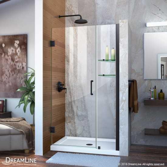 Unidoor 42-43 in. W x 72 in. H Frameless Hinged Shower Door with Shelves in Satin Black