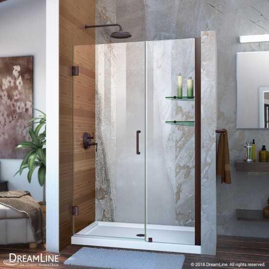 Unidoor 45-46 in. W x 72 in. H Frameless Hinged Shower Door with Shelves in Oil Rubbed Bronze