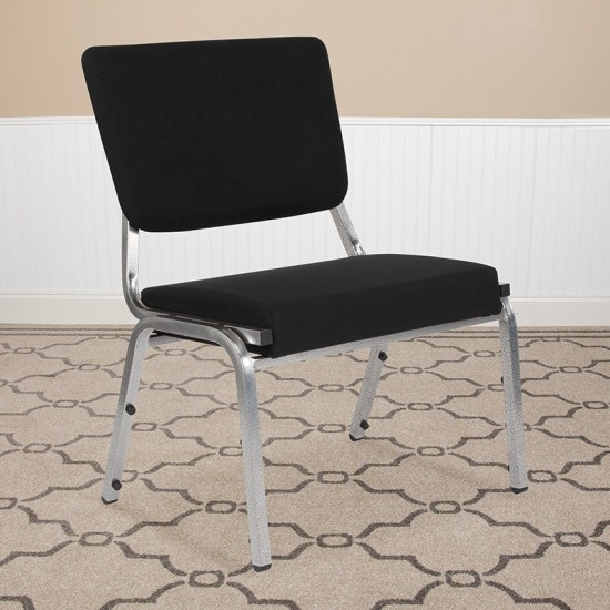 1500 lb. Rated Black Antimicrobial Fabric Bariatric Medical Reception Chair with 3/4 Panel Back
