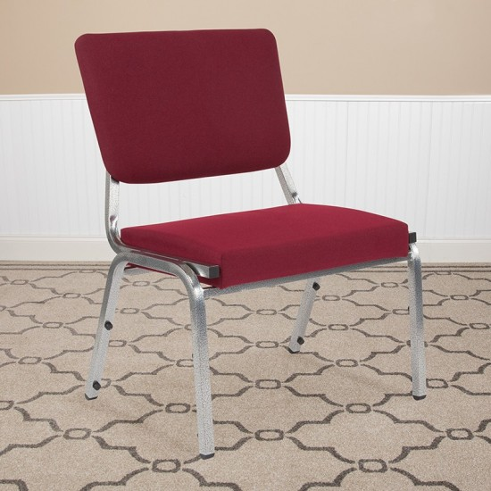 1500 lb. Rated Burgundy Antimicrobial Fabric Bariatric Medical Reception Chair with 3/4 Panel Back