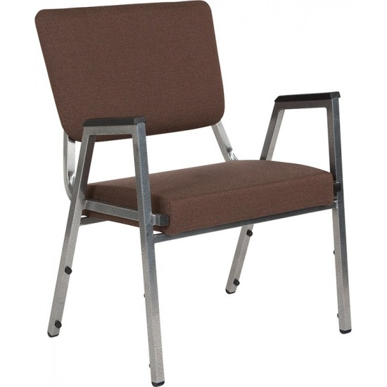 1500 lb. Rated Brown Antimicrobial Fabric Bariatric Medical Reception Arm Chair with 3/4 Panel Back