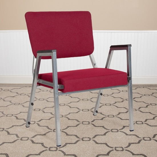1500 lb. Rated Burgundy Antimicrobial Fabric Bariatric Medical Reception Arm Chair with 3/4 Panel Back
