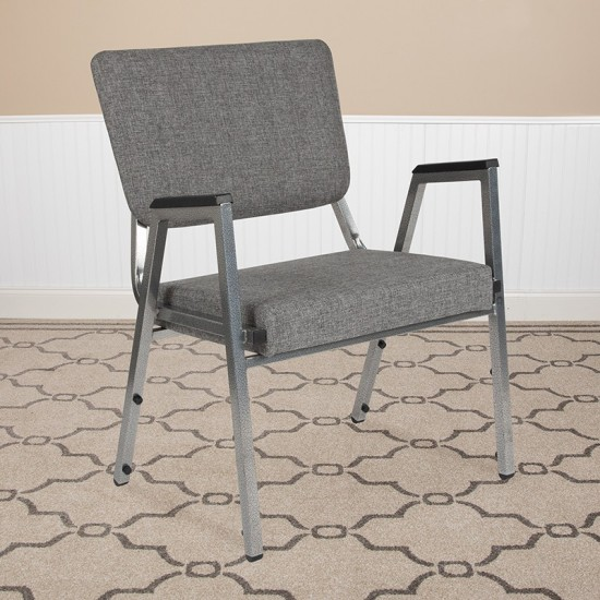 1500 lb. Rated Gray Antimicrobial Fabric Bariatric Medical Reception Arm Chair with 3/4 Panel Back