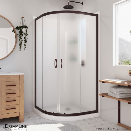Prime 33 in. x 76 3/4 in. Semi-Frameless Frosted Glass Sliding Shower Enclosure in Oil Rubbed Bronze, Base and Backwall