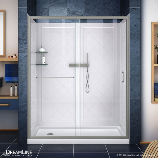 Infinity-Z 30 in. D x 60 in. W x 76 3/4 in. H Clear Sliding Shower Door in Brushed Nickel, Left Drain Base and Backwalls