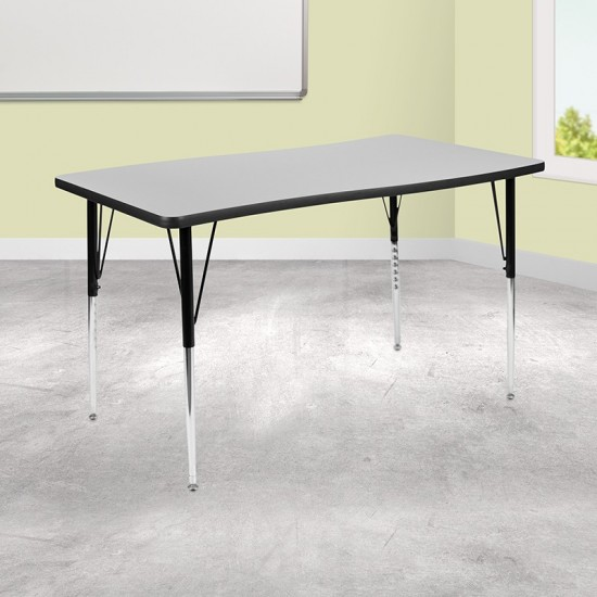 """28""""W x 47.5""""L Rectangular Wave Collaborative Grey Thermal Laminate Activity Table - Standard Height Adjustable Legs"""