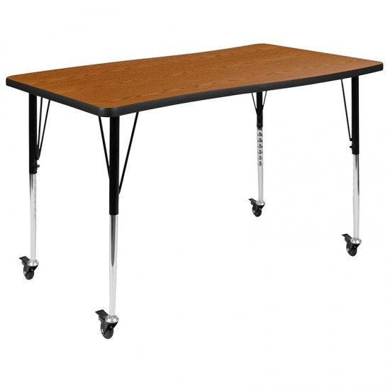 """Mobile 28""""W x 47.5""""L Rectangular Wave Collaborative Oak Thermal Laminate Activity Table-Standard Height Adjustable Legs"""