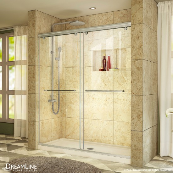 Charisma 34 in. D x 60 in. W x 78 3/4 in. H Frameless Bypass Shower Door in Brushed Nickel and Center Drain Biscuit Base