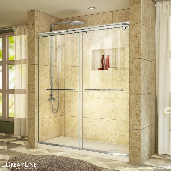 Charisma 34 in. D x 60 in. W x 78 3/4 in. H Frameless Bypass Shower Door in Chrome with Right Drain Biscuit Base