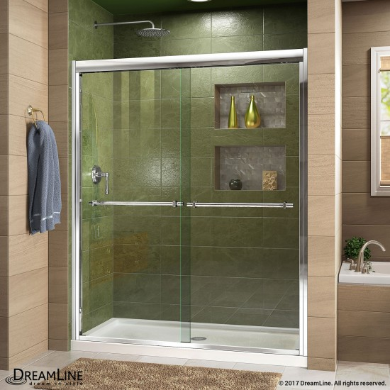 Duet 34 in. D x 60 in. W x 74 3/4 in. H Semi-Frameless Bypass Shower Door in Chrome and Center Drain White Base