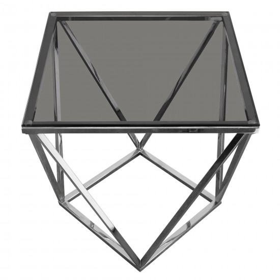 Gem End Table with Smoked Tempered Glass Top and Polished Stainless Steel Base by Diamond Sofa