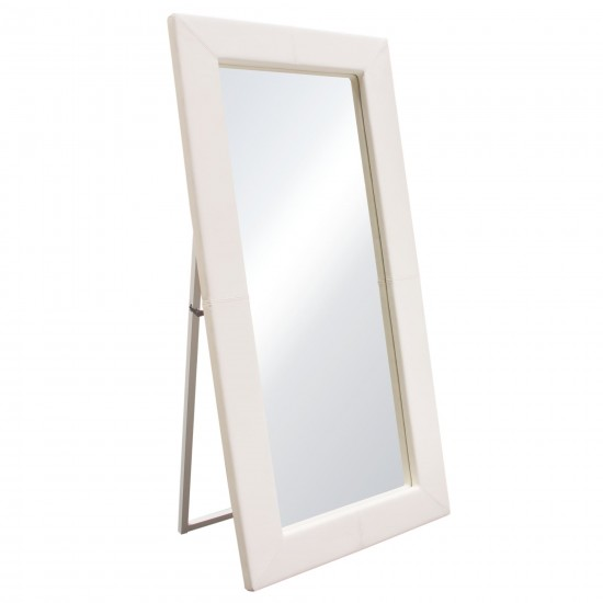 Luxe Free-Standing Mirror w/ Locking Easel Mechanism in White PU by Diamond Sofa