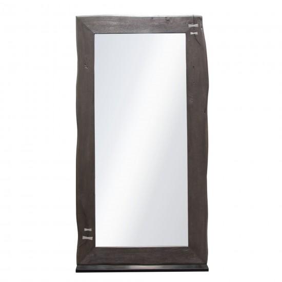 Vista Solid Acacia Wood Mirror w/ Live Edge in Espresso Finish w/ Silver Inlay & Black Self-Supporting Stand by Diamond Sofa