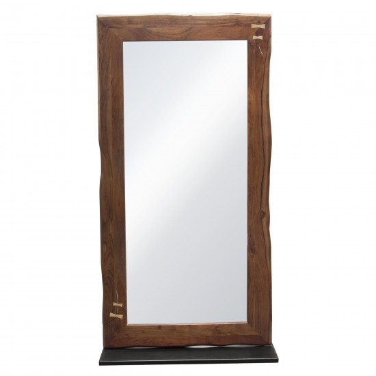 Vista Solid Acacia Wood Mirror w/ Live Edge in Walnut Finish w/ Gold Inlay & Black Self-Supporting Stand by Diamond Sofa