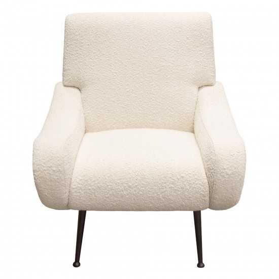 Cameron Accent Chair in Bone Boucle Textured Fabric w/ Black Leg by Diamond Sofa
