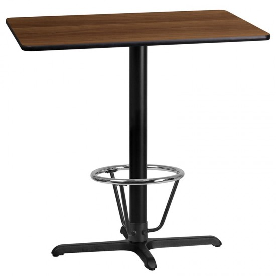 24'' x 42'' Rectangular Walnut Laminate Table Top with 23.5'' x 29.5'' Bar Height Table Base and Foot Ring