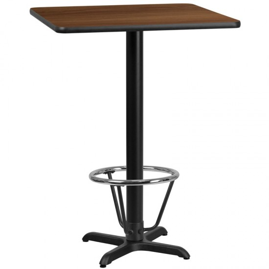 30'' Square Walnut Laminate Table Top with 22'' x 22'' Bar Height Table Base and Foot Ring