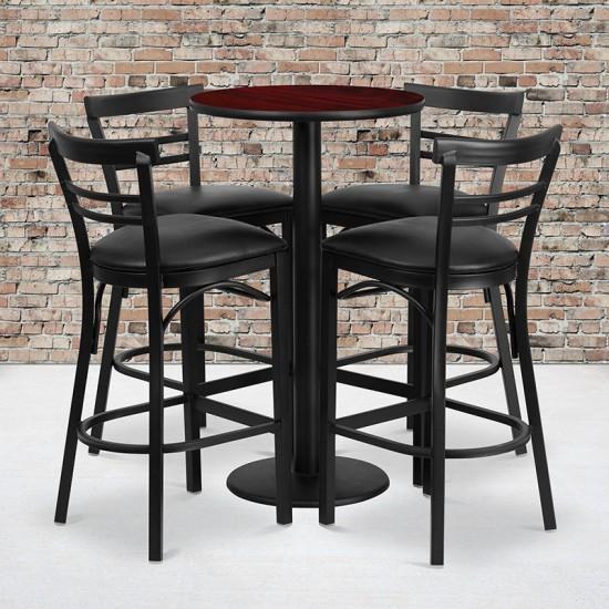 24'' Round Mahogany Laminate Table Set with Round Base and 4 Two-Slat Ladder Back Metal Barstools - Black Vinyl Seat