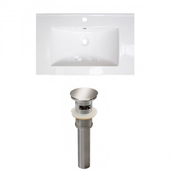 24-in. W 1 Hole Ceramic Top Set In White Color - Overflow Drain Incl.