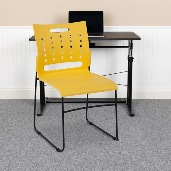 881 lb. Capacity Yellow Sled Base Stack Chair with Air-Vent Back