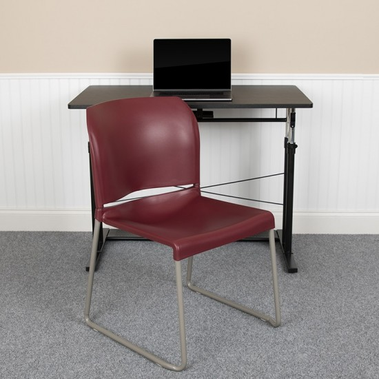 880 lb. Capacity Burgundy Full Back Contoured Stack Chair with Gray Powder Coated Sled Base