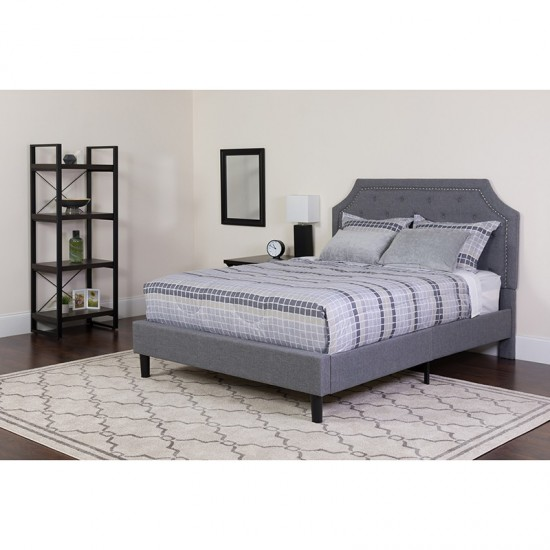 Brighton Queen Size Tufted Upholstered Platform Bed in Light Gray Fabric with Memory Foam Mattress