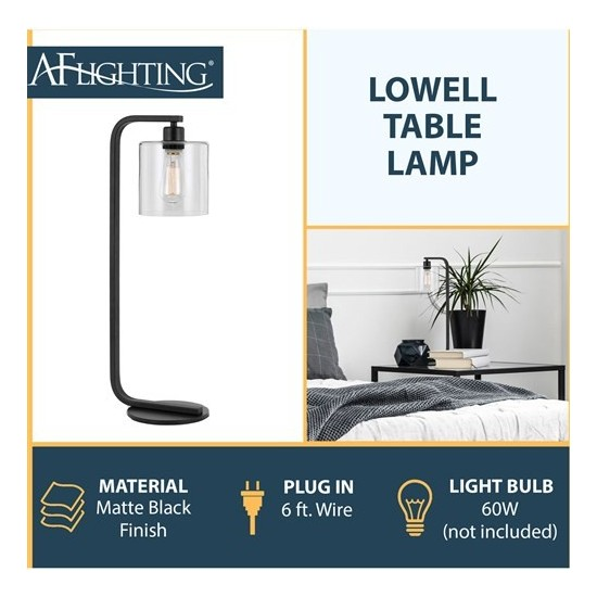 Lowell 60W table lamp, Clear