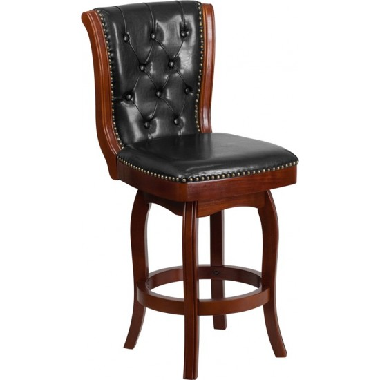 26'' High Cherry Wood Counter Height Stool with Button Tufted Back and Black LeatherSoft Swivel Seat