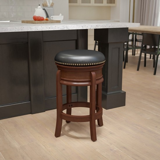 24'' High Backless Light Cherry Wood Counter Height Stool Carved Apron and Black LeatherSoft Swivel Seat