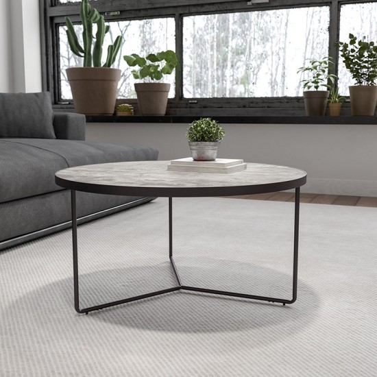"""Providence Collection 31.5"""" Round Indoor Living Room Coffee Table in Faux Concrete Finish"""