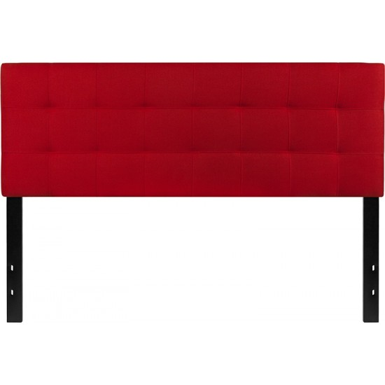 Bedford Tufted Upholstered Queen Size Headboard in Red Fabric