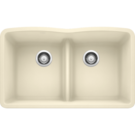 Diamond Equal Double Bowl Low Divide Undermount, Biscuit