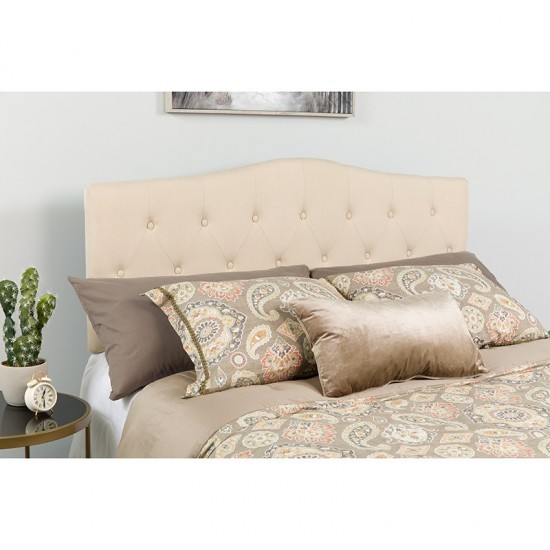 Cambridge Tufted Upholstered King Size Headboard in Beige Fabric