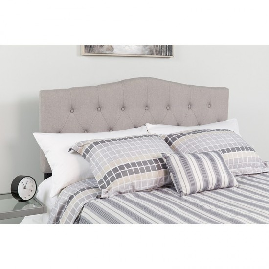 Cambridge Tufted Upholstered Twin Size Headboard in Light Gray Fabric