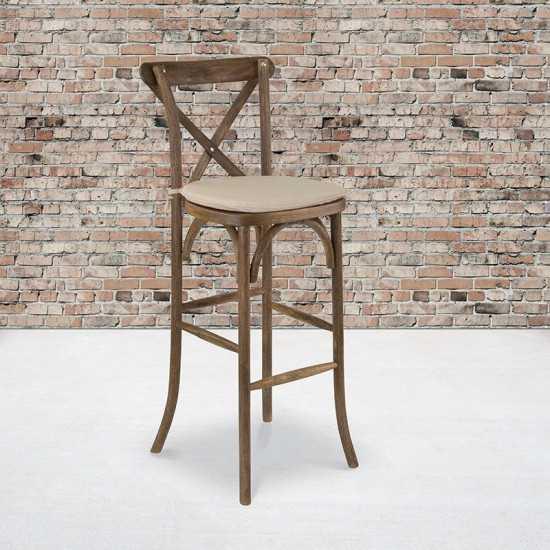 Dark Antique Wood Cross Back Barstool with Cushion