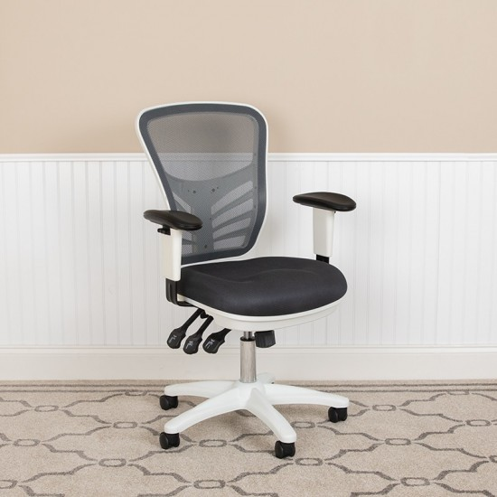 Mid-Back Dark Gray Mesh Multifunction Executive Swivel Ergonomic Office Chair with Adjustable Arms and White Frame