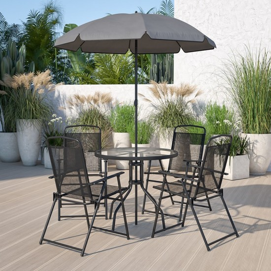 Nantucket 6 Piece Black Patio Garden Set with Table, Umbrella and 4 Folding Chairs