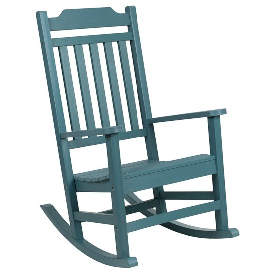 Winston All-Weather Rocking Chair in Teal Faux Wood