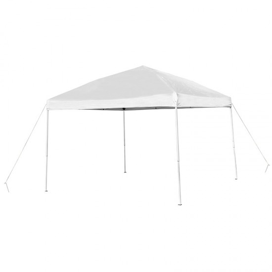 10'x10' White Outdoor Pop Up Event Slanted Leg Canopy Tent with Carry Bag