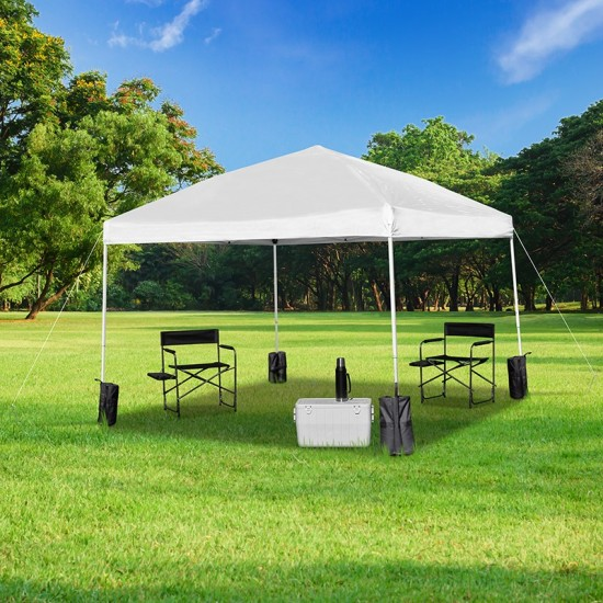 10'x10' White Pop Up Event Straight Leg Canopy Tent with Sandbags and Wheeled Case